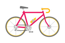 Vector Bicycle In Flat Style Isolated On White