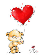 Cute Teddy Bear In Love With B...