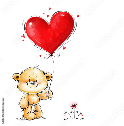 Cute Teddy Bear in love with big red heart balloon Canvas Print