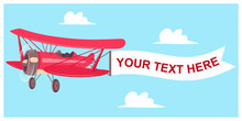 Red Airplane With Flight Banner On A Sky Background With Clouds. Vector Cartoon Flat Illustration Of An Aircraft With A Blank Message Advertisement.