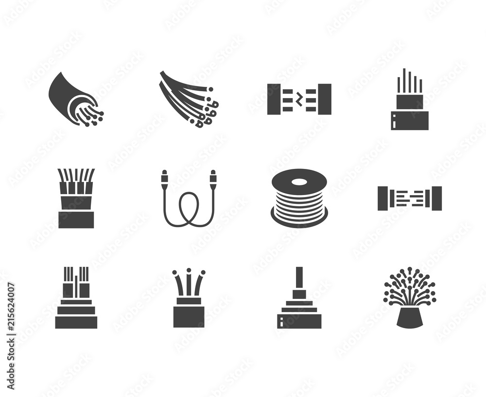 Fototapeta Optical fiber flat glyph icons. Network connection, computer wire, cable bobbin, data transfer. Signs for electronics store, internet services. Solid silhouette pixel perfect 64x64.