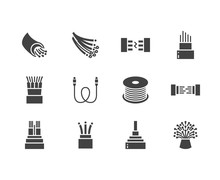 Optical Fiber Flat Glyph Icons. Network Connection, Computer Wire, Cable Bobbin, Data Transfer. Signs For Electronics Store, Internet Services. Solid Silhouette Pixel Perfect 64x64.