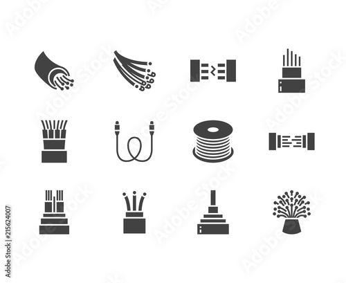 Fototapeta Optical fiber flat glyph icons