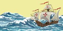 Sailing Ship On Sea Waves, Rea...