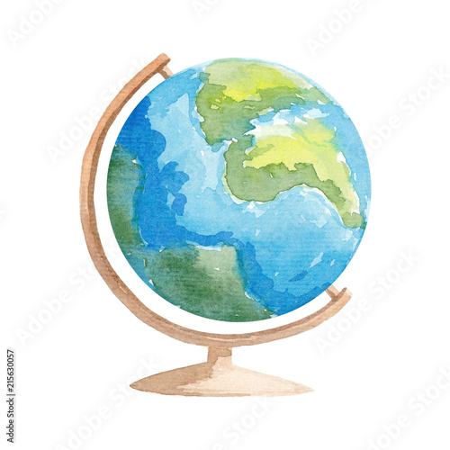 Watercolor Globe illustration School globe Wall mural