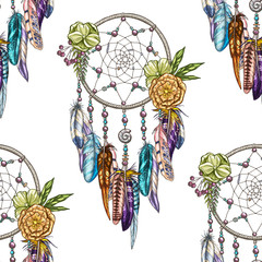 Fototapeta Do sypialni Vector seamless pattern with Dream catcher isolated on white background. Luxury dream catcher with flowers and beads.