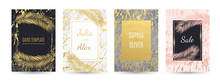 Set Of Gold Luxury Vector Card Templates With Marble Background, Cover And Golden Palm Leaves With Frames. Black, White, Rose, Pink, Grey, Golden Marble Texture. Geometric Shape. Palm Summer Leaf.