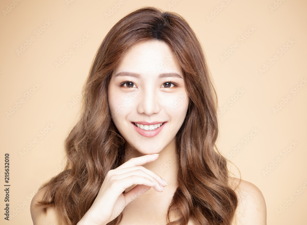 Fototapeta young woman with natural makeup and clean skin