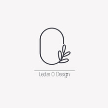 Vector Line Decorative Letter O Logo With Decorative Elements In The Form Of An Elegant Leaf Branch.