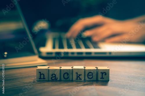 Fotografie, Obraz  Word Hacker with hands working on notebook.
