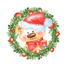 Watercolor Illustration. Christmas Fir Tree Wreath And Teddy Bear In Santa Hat
