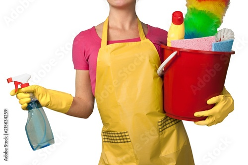 Canvas Prints Fairytale World Woman in Apron with Bucket of Cleaning Supplies - Isolated