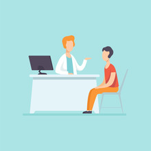 Male Practitioner Doctor Advising Patient In Medical Office, Medical Treatment And Healthcare Concept Vector Illustration