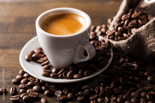 Canvas Print Cup of Coffee and Coffee Beans