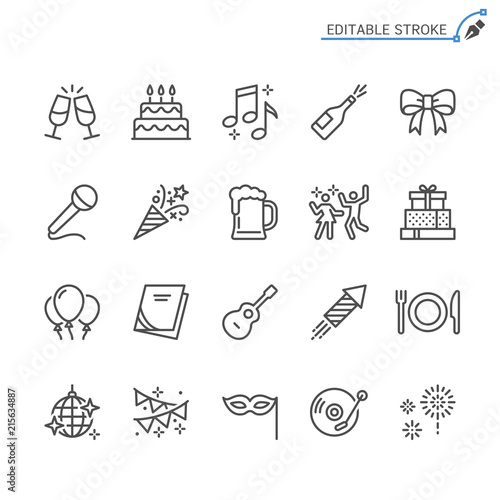 Obraz Party line icons. Editable stroke. Pixel perfect. - fototapety do salonu