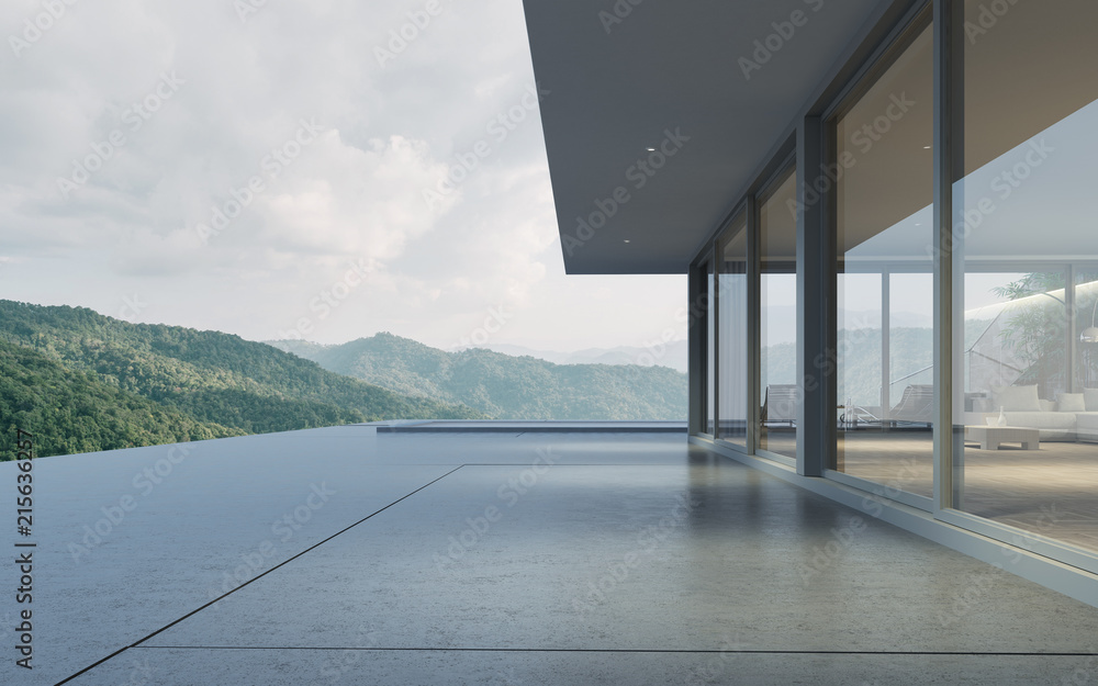 Fototapeta Perspective of modern building with terrace and swimming pool on mountain view background,Idea of family vacation. 3D rendering.