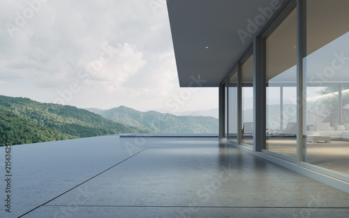 Perspective of modern building with terrace and swimming pool on mountain view background,Idea of family vacation. 3D rendering. - fototapety na wymiar