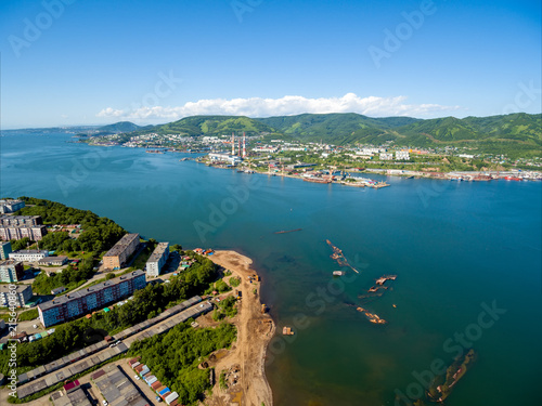 Photo  Aerial view on bay and part of city Petropavlovsk-Kamchatsky