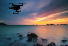 Silhouette Of Drone Flying Ove...