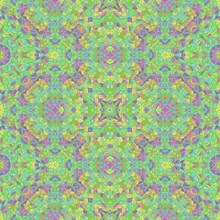 Colorful Abstract Kaleidoscope With Many Color And Ornaments, Green And Purple Kaleidoscope, Seamless Texture