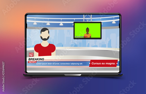 Anchorman In Breaking News Banner Breaking News Template In