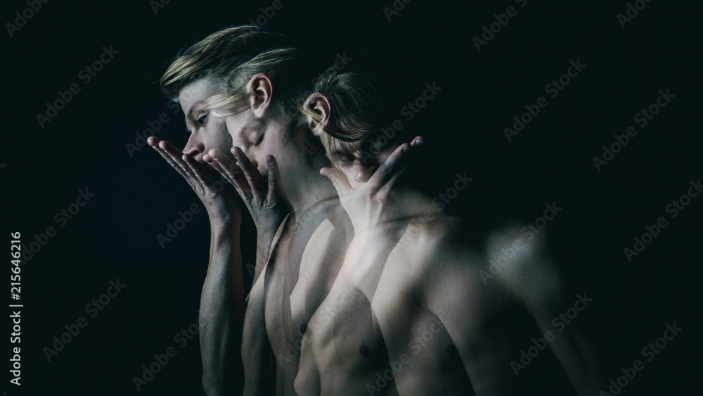 Fototapety, obrazy: be silent. Don't speak. Young beautiful naked guy covers mouth with his hands. Multiple exposure. Creative emotional man portrait.