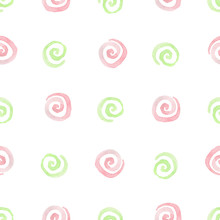 Seamless Pattern With Pink And Green Spirals