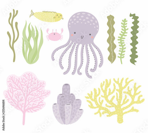 Photo sur Aluminium Des Illustrations Sea set with cute funny octopus, crab, fish, corals, seaweed. Isolated objects on white background. Hand drawn vector illustration. Scandinavian style flat design. Concept for children print.