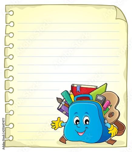 Foto op Plexiglas Voor kinderen Notebook page with schoolbag 2