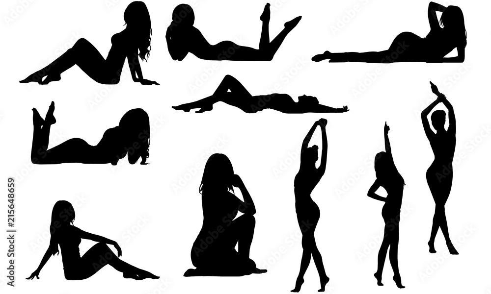 Fototapeta Fit Woman Silhouette |Sensual female Vector | Beautiful Girl Posing | Clipart Clip art Logo