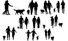 Couples With Dog Silhouette | Dog Walking Vector |Exercise With Dog | Clipart Clip Art Logo