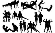 Fitness Couple Silhouette |Boy...