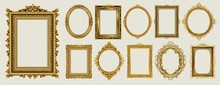 Set Of Invitation Golden And G...