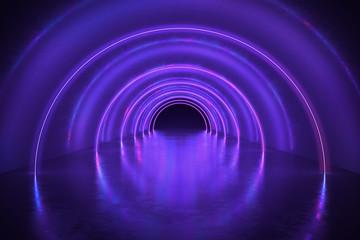 Abstrakcjonistyczny tunel lub korytarz z neonowymi światłami. 3D świadczonych ilustracji.