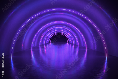 Slika na platnu Abstract tunnel or corridor with neon lights