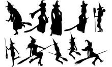 Witch With Broomstick Silhouet...