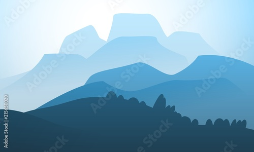 Foto op Aluminium Blauw Vector landscape mountain peak horizon travel illustration background. Vacation and extreme outdoor sport recreation morning or night day time painting concept design.