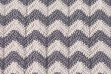 Gray And White Crochet Blanket In Chevron Stripe Pattern