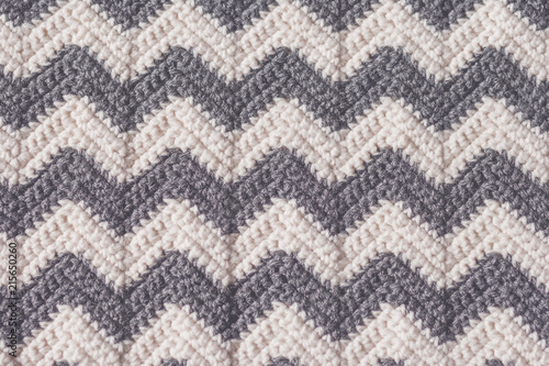 Gray and White Crochet Blanket in Chevron Stripe Pattern Wallpaper Mural
