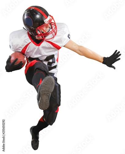 Fotografie, Tablou American football player with the ball isolated on a white