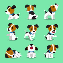 Cartoon Character Jack Russell Terrier Dog Set For Design.