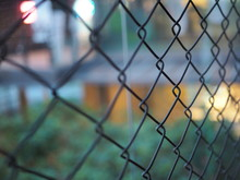 Close Up Of Metal Cage, Chain Link Fence