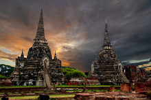Wat Phra Si Sanphet Temple In Ayutthaya Historical Park,a UNESCO World Heritage Site In Thailand.