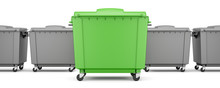 Green Garbage Container Among ...