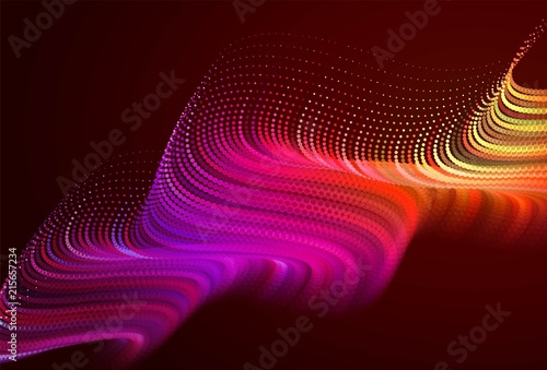 Fotobehang Bruin Abstract colorful digital landscape with flowing particles. Cyber or technology background. Red, pink, orange colors