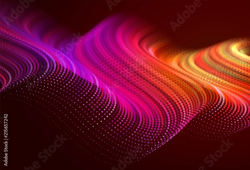Türaufkleber Braun Abstract colorful digital landscape with flowing particles. Cyber or technology background. Red, pink, orange colors.