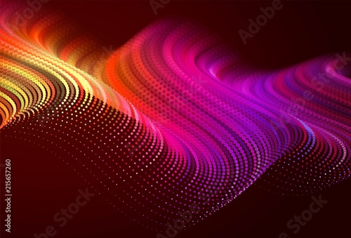 Garden Poster Brown Abstract colorful digital landscape with flowing particles. Cyber or technology background. Red, pink, orange colors.