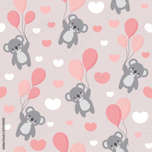 Fototapeta premium Bezszwowe tło wzór Koala, szczęśliwy słodki koala latający na niebie między kolorowymi balonami i chmurami, kreskówka niedźwiedzie Koala wektor ilustracja dla dzieci