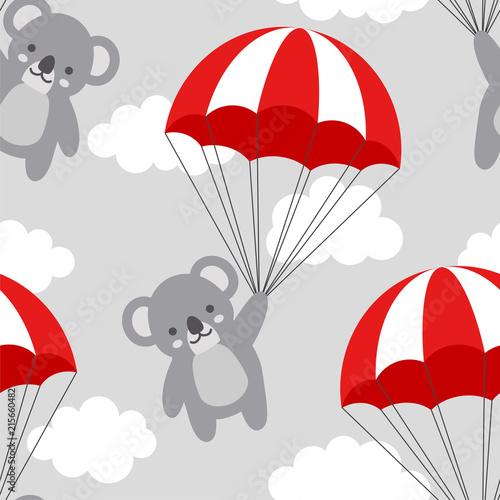 bezszwowy-koala-wzoru-tlo-szczesliwy-sliczny-koali-latanie-w-niebie-miedzy