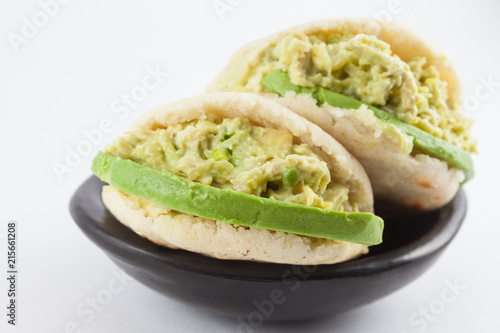 Typical Venezuelan arepa called reina pepiada